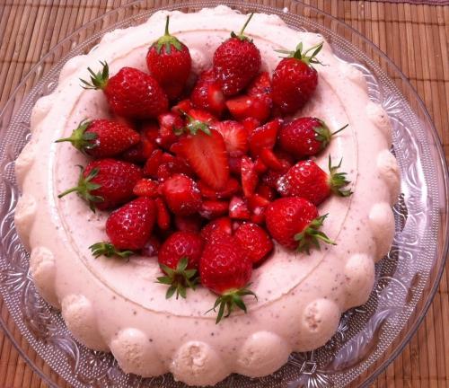 fraise, bavarois, bavaroise, crème anglaise