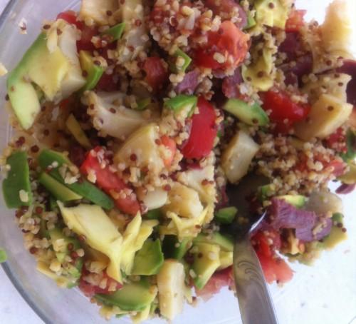salade, entrée, quinoa, tomate, magret de canard séché, fonds d'artichaut