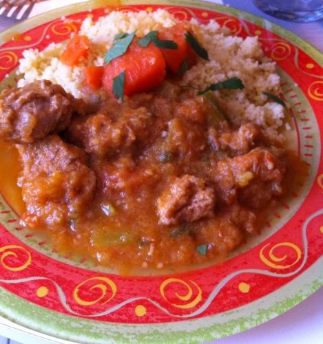 couscous, pois chiche, graines de semoule, tomates, agneau, courgette