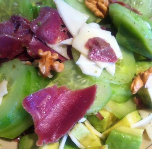 salade, sandwich, fol épi, noix, gésiers émincés, avocat, concombre