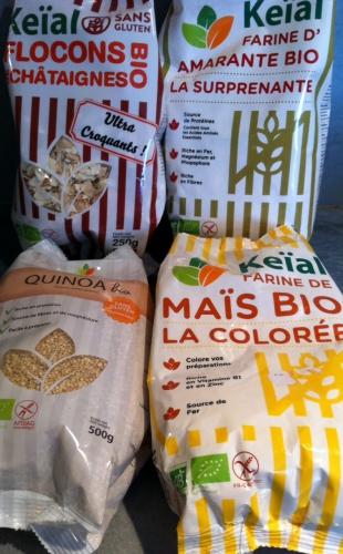 keïal, sans gluten, farine de maïs, amarante, flocons de châtaignes, quinoa,