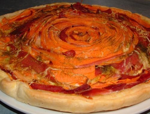tarte spirale, carottes, jambon, jambon italien, emmental râpé, ail de l'ours, tabasco, curry