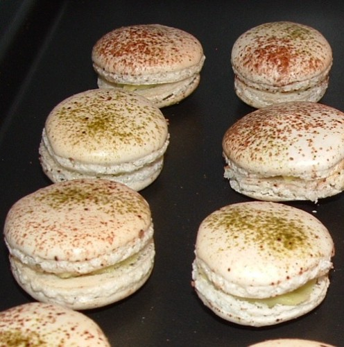 macarons, chef nini, macarons choco/praliné/gavotte, macarons thé vert Matcha