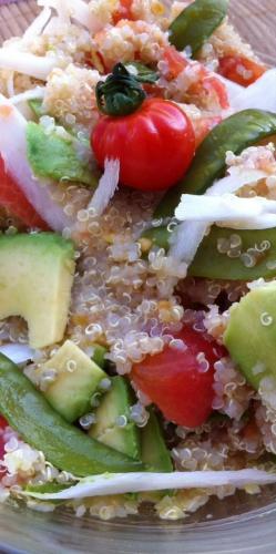 kéïal, quinoa, avocat, tomate, radis noir, citron, persil, pois plats
