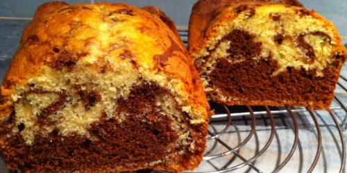 gâteau, cake, marbré, yaourt, gâteau au yaourt, chocolat