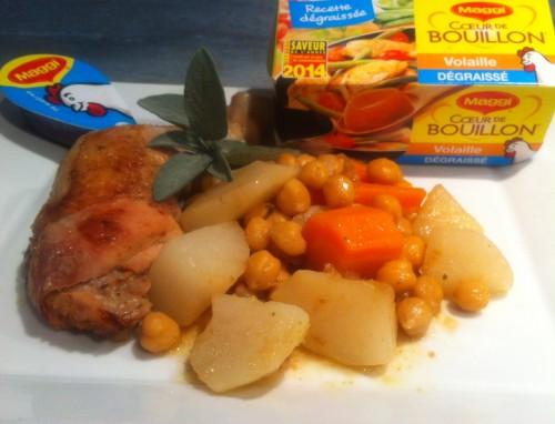 coeur de bouillon,maggi,poulet,navets,carottes,pois chiches