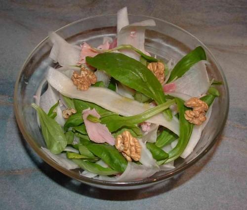 radis noir, salade, mâche, jambon, noix