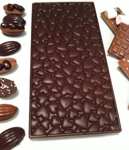 chocolat, silikomarkt, italie, moule Love bar choco, valrhona, perles chocolat noir, perles de grué pur ghana