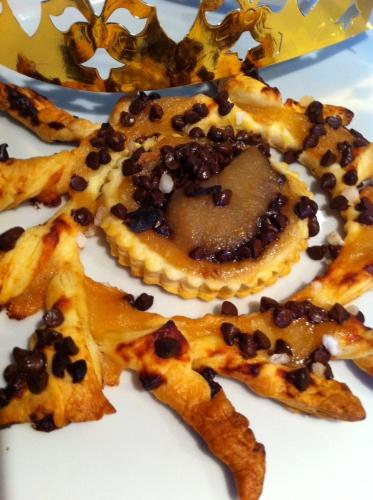 galette, individuelle, épiphanie, pommes, pépites de chocolat, feuilleté soleil, pâte feuilletée