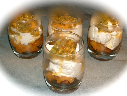 kaki, fruits de la passion, compote kaki, chantilly, speculoos