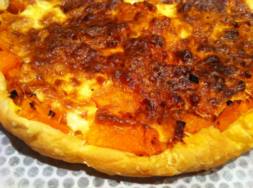 tarte, citrouille, emmental, lardons, crème fraîche, pâte feuilletée