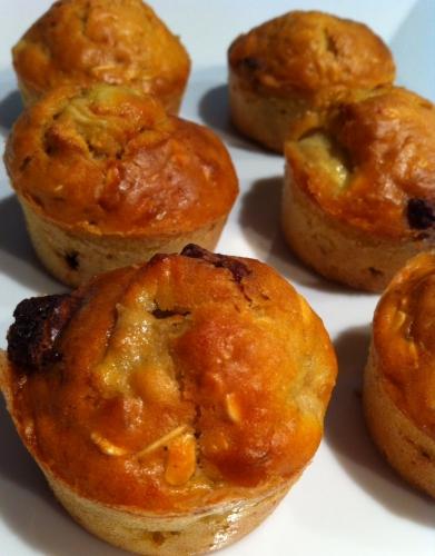 muffins, elle, flocons d'avoine, banane, chocolat