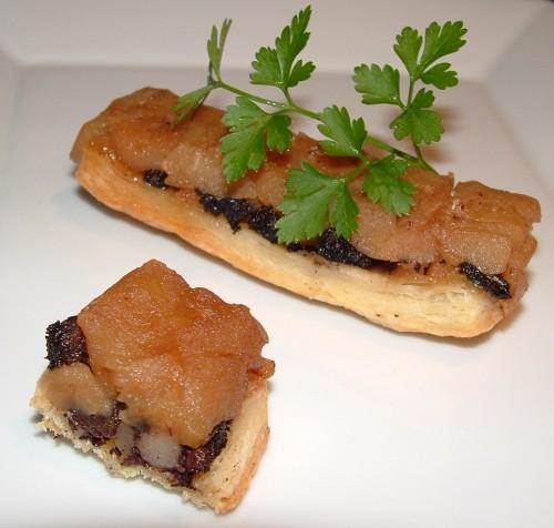 lingot, empreinte Guy Demarle, pommes, boudin noir, pâte feuilletée, vergeoise, fleur de sel