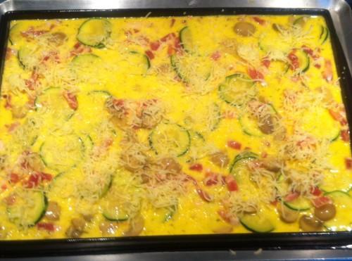 omelette roulée, lardons, courgettes, champignons, comté, guy demarle, flexipan plat