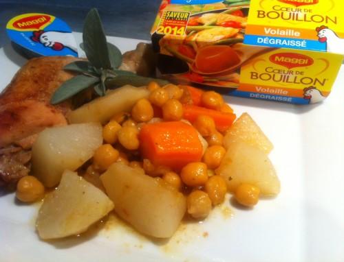 coeur de bouillon, maggi, poulet, navets, carottes, pois chiches