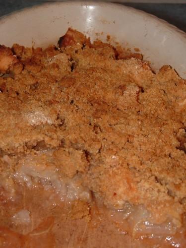 crumble,pommes,farine d'avoine,farine de petit épeautre,farine de chataîgne,mélange à pain d'épices
