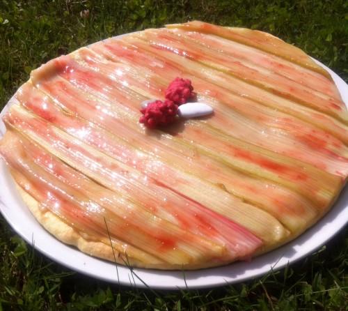 tarte, rhubarbe, fraise, crème pâtissière à la fraise, confiture de fraise