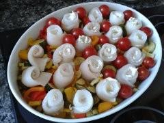 poisson, roulé, cantadou, légumes à la  provençale