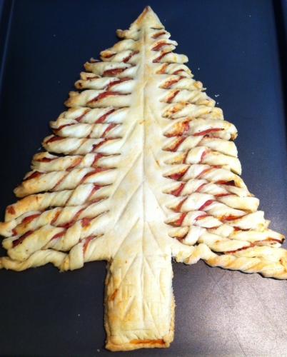 sapin de Noël, apéritif, feuilleté, jambon, emmental, sel, pâte feuilletée